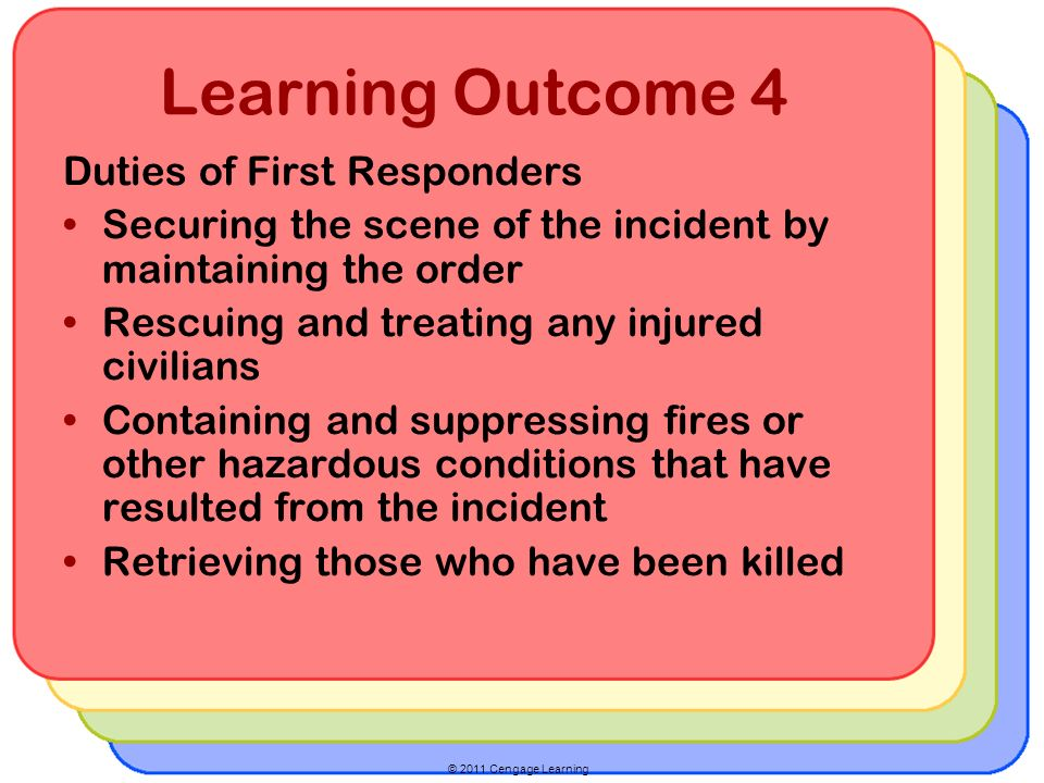 Learning Outcome 4 Duties of First Responders Securing the scene of the incident by maintaining the order Rescuing and treating any injured civilians Containing and suppressing fires or other hazardous conditions that have resulted from the incident Retrieving those who have been killed
