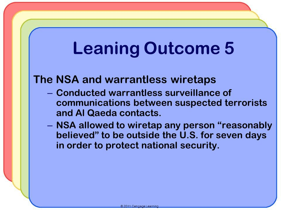 © 2011 Cengage Learning Leaning Outcome 5 The NSA and warrantless wiretaps – Conducted warrantless surveillance of communications between suspected terrorists and Al Qaeda contacts.
