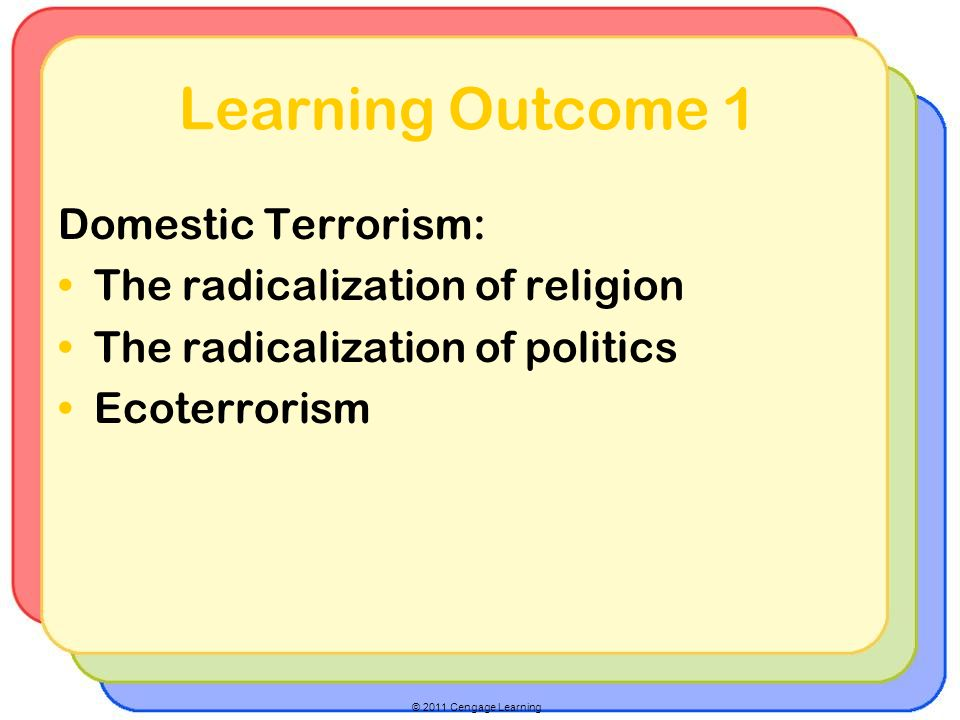 © 2011 Cengage Learning Learning Outcome 1 Domestic Terrorism: The radicalization of religion The radicalization of politics Ecoterrorism