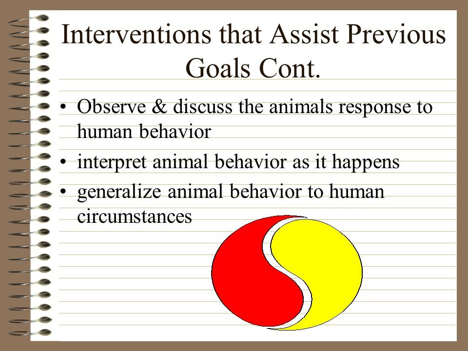 Interventions that Assist Previous Goals Cont.