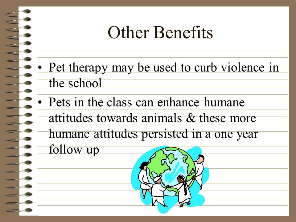 Other Benefits Pet therapy may be used to curb violence in the school Pets in the class can enhance humane attitudes towards animals & these more humane attitudes persisted in a one year follow up