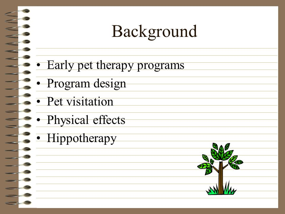 Background Early pet therapy programs Program design Pet visitation Physical effects Hippotherapy