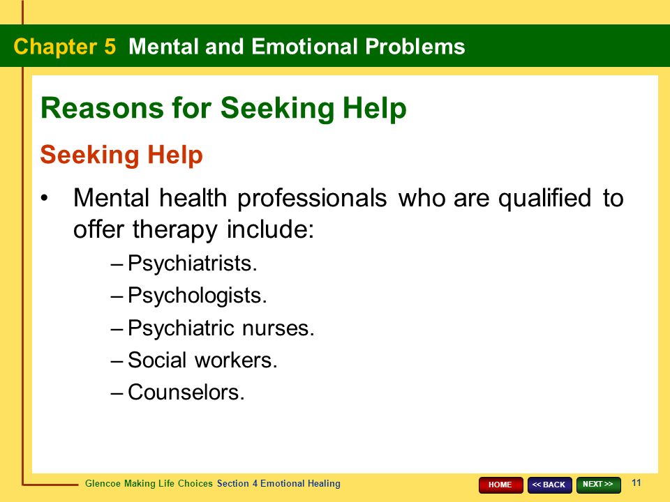 Glencoe Making Life Choices Section 4 Emotional Healing Chapter 5 Mental and Emotional Problems 11 << BACK NEXT >> HOME Seeking Help Mental health professionals who are qualified to offer therapy include: –Psychiatrists.