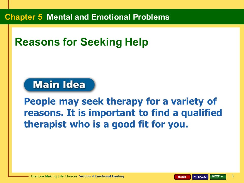 Glencoe Making Life Choices Section 4 Emotional Healing Chapter 5 Mental and Emotional Problems 3 << BACK NEXT >> HOME People may seek therapy for a variety of reasons.