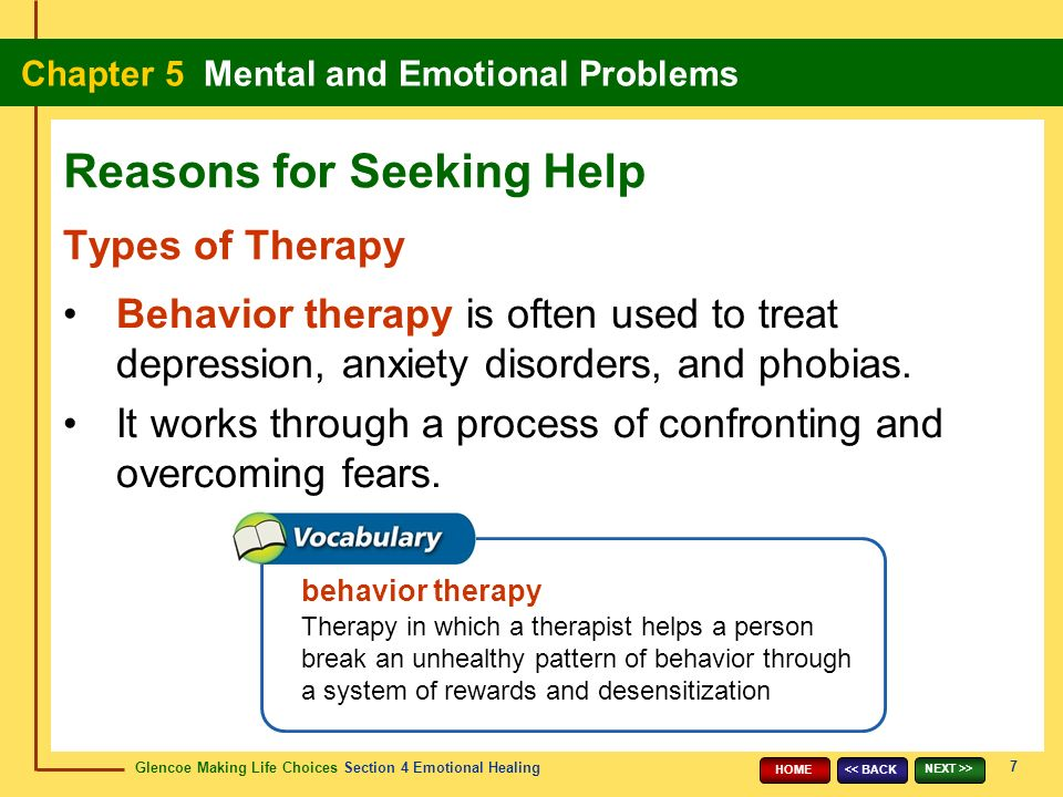 Glencoe Making Life Choices Section 4 Emotional Healing Chapter 5 Mental and Emotional Problems 7 << BACK NEXT >> HOME Types of Therapy Behavior therapy is often used to treat depression, anxiety disorders, and phobias.