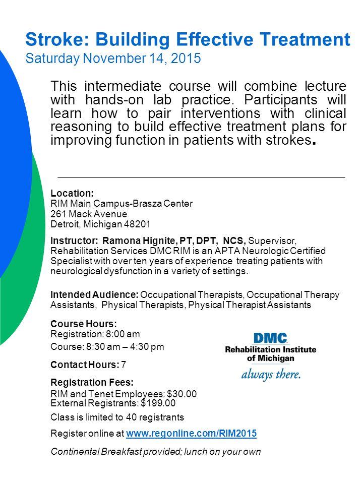 2015 Course Calendar DMC Rehabilitation Institute of