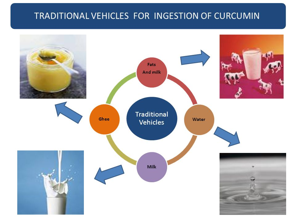 Traditional Vehicles Fats And milkWaterMilkGhee TRADITIONAL VEHICLES FOR INGESTION OF CURCUMIN