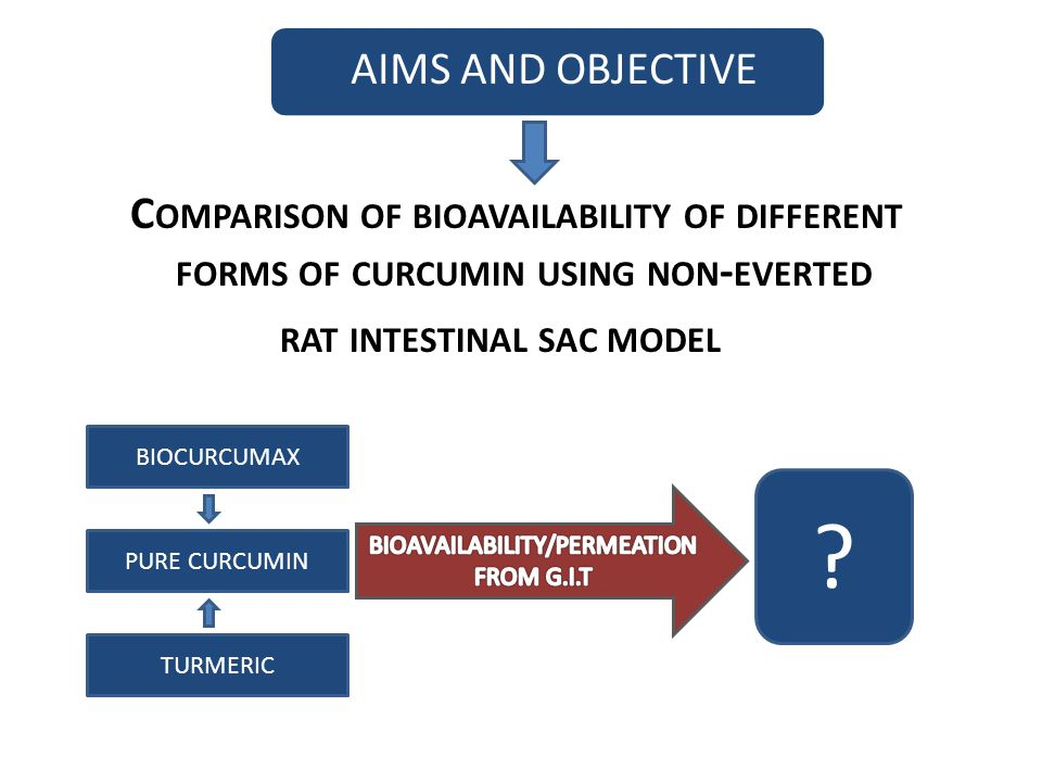 AIMS AND OBJECTIVE C OMPARISON OF BIOAVAILABILITY OF DIFFERENT FORMS OF CURCUMIN USING NON - EVERTED RAT INTESTINAL SAC MODEL BIOCURCUMAX PURE CURCUMIN TURMERIC