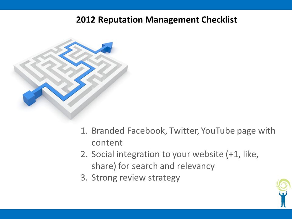 2012 Reputation Management Checklist 1.Branded Facebook, Twitter, YouTube page with content 2.Social integration to your website (+1, like, share) for search and relevancy 3.Strong review strategy