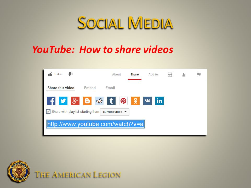 YouTube: How to share videos S OCIAL M EDIA T HE A MERICAN L EGION