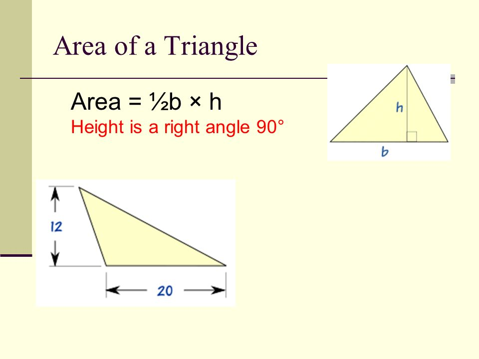 Area of a Parallelogram Area = b × h b = base h = vertical height