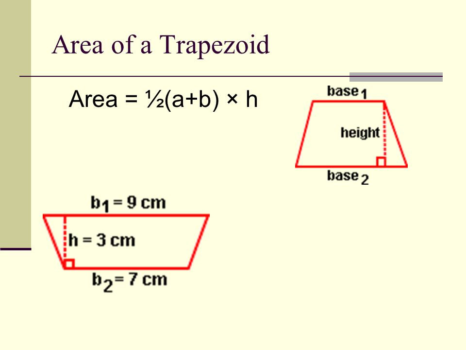 Area of a Triangle Area = ½b × h Height is a right angle 90°