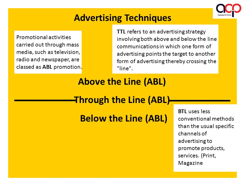 Above the Line (ABL) Below the Line (ABL) Through the Line (ABL) Advertising Techniques Promotional activities carried out through mass media, such as television, radio and newspaper, are classed as ABL promotion.