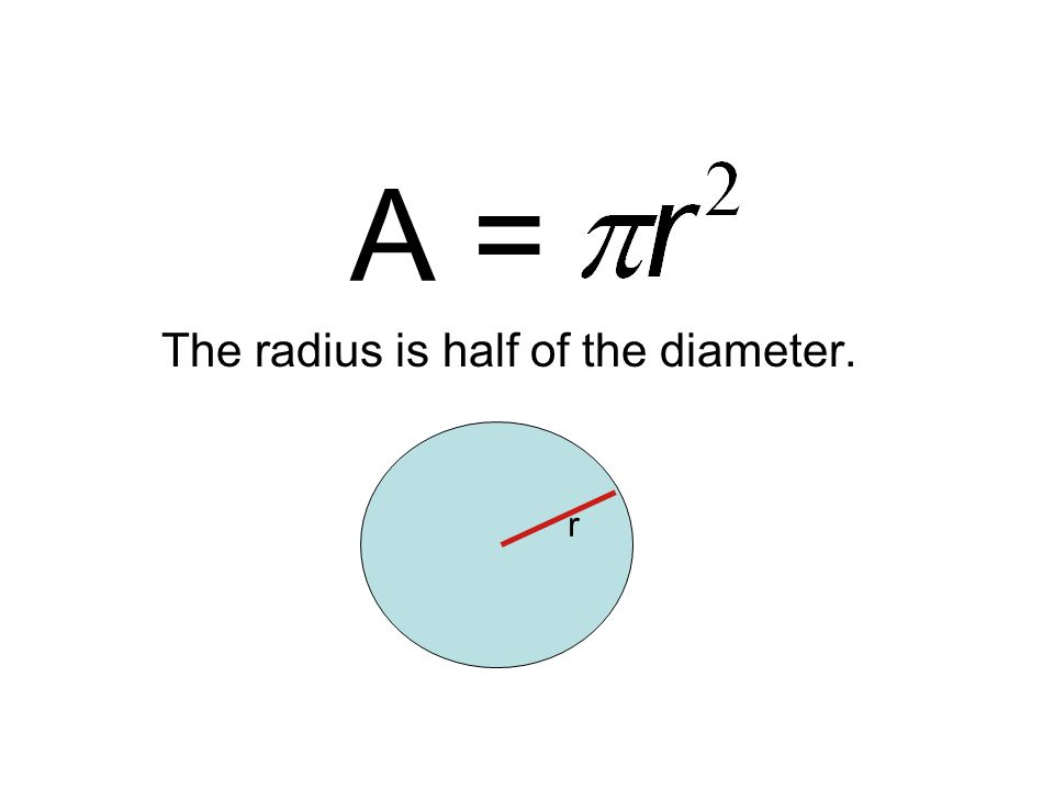 The radius is half of the diameter. r