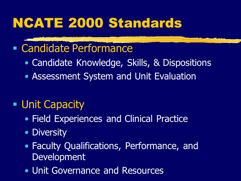 NCATE 2000 Standards  Candidate Performance Candidate Knowledge, Skills, & Dispositions Assessment System and Unit Evaluation  Unit Capacity Field Experiences and Clinical Practice Diversity Faculty Qualifications, Performance, and Development Unit Governance and Resources
