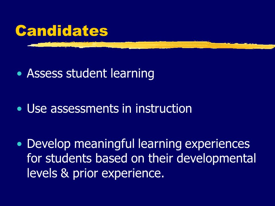 Candidates Assess student learning Use assessments in instruction Develop meaningful learning experiences for students based on their developmental levels & prior experience.