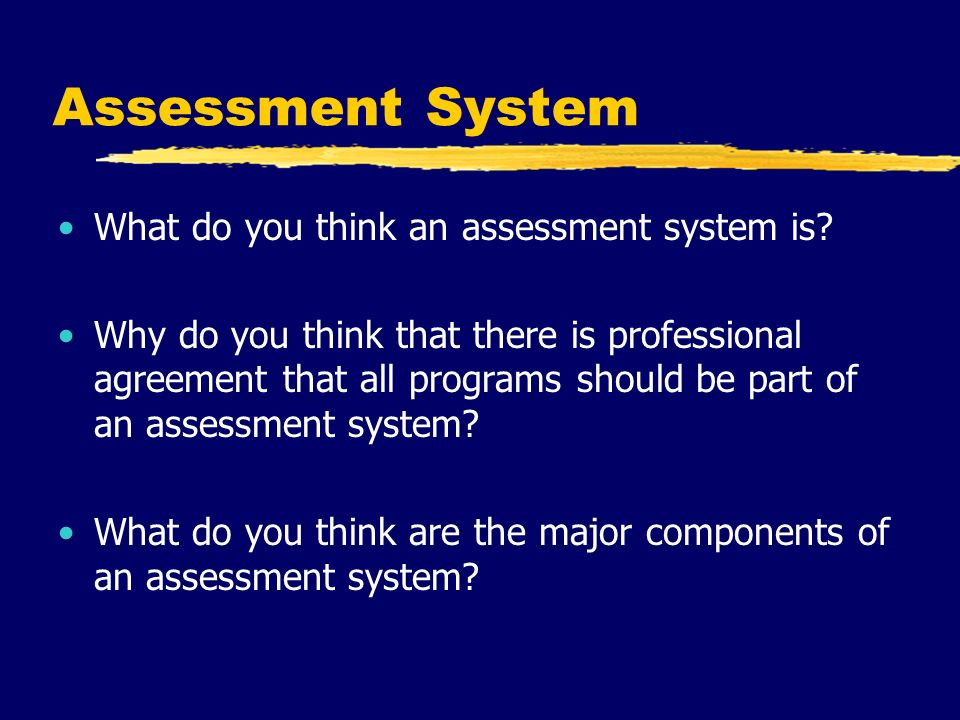 Assessment System What do you think an assessment system is.