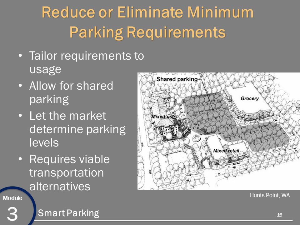 Module 3 Smart Parking Reduce or Eliminate Minimum Parking Requirements Tailor requirements to usage Allow for shared parking Let the market determine parking levels Requires viable transportation alternatives Hunts Point, WA 16