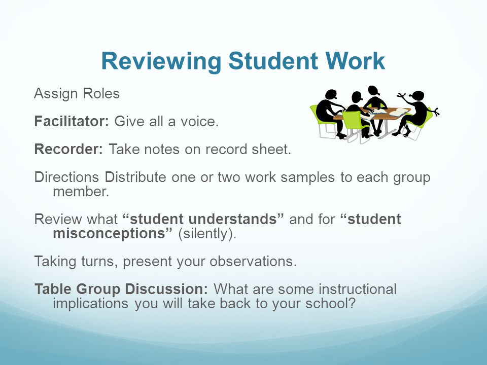 Reviewing Student Work Assign Roles Facilitator: Give all a voice.
