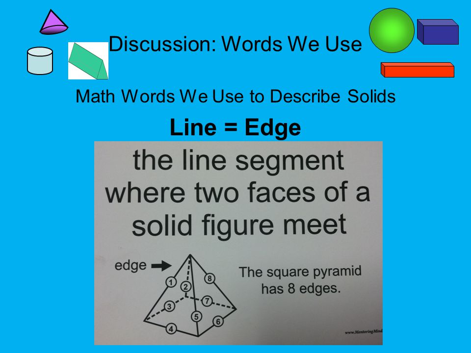 Discussion: Words We Use Math Words We Use to Describe Solids Line = Edge
