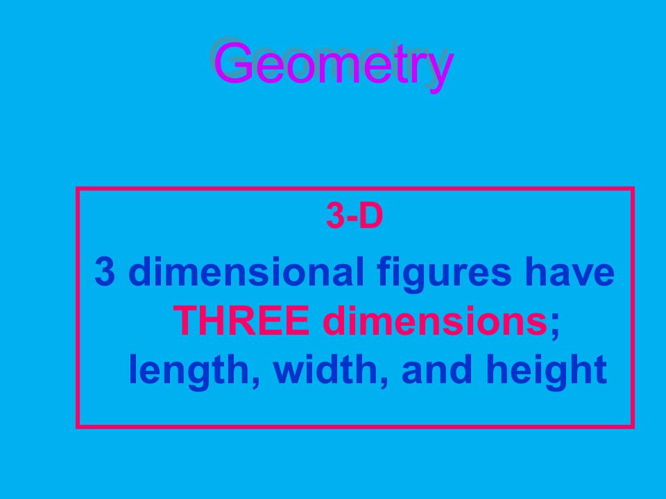 Geometry 3-D 3 dimensional figures have THREE dimensions; length, width, and height