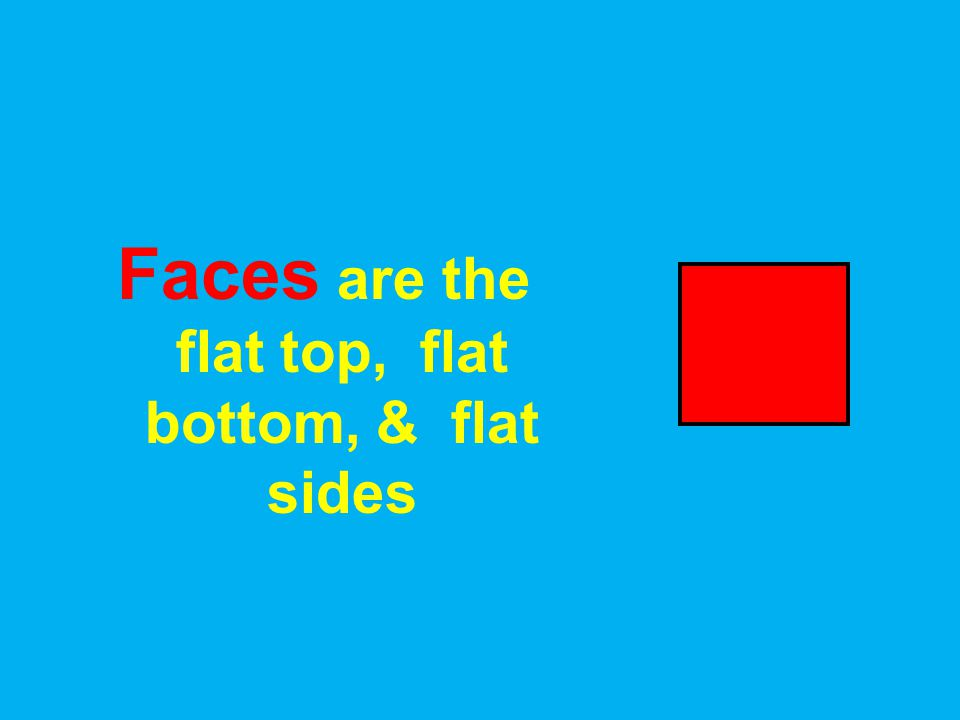 Faces are the flat top, flat bottom, & flat sides
