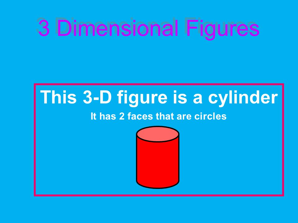 3 Dimensional Figures This 3-D figure is a cylinder It has 2 faces that are circles