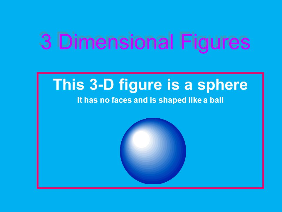 3 Dimensional Figures This 3-D figure is a sphere It has no faces and is shaped like a ball