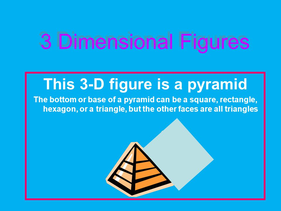 This 3-D figure is a pyramid The bottom or base of a pyramid can be a square, rectangle, hexagon, or a triangle, but the other faces are all triangles