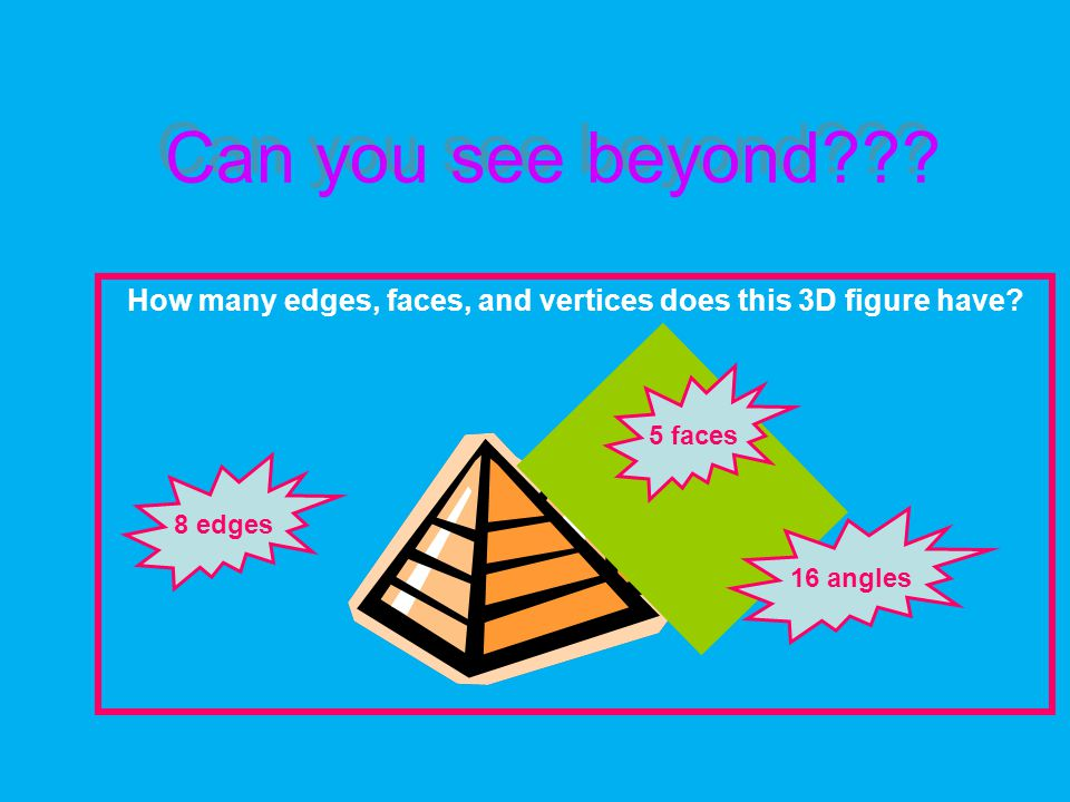 Can you see beyond . How many edges, faces, and vertices does this 3D figure have.