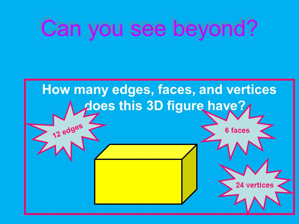 Can you see beyond. How many edges, faces, and vertices does this 3D figure have.