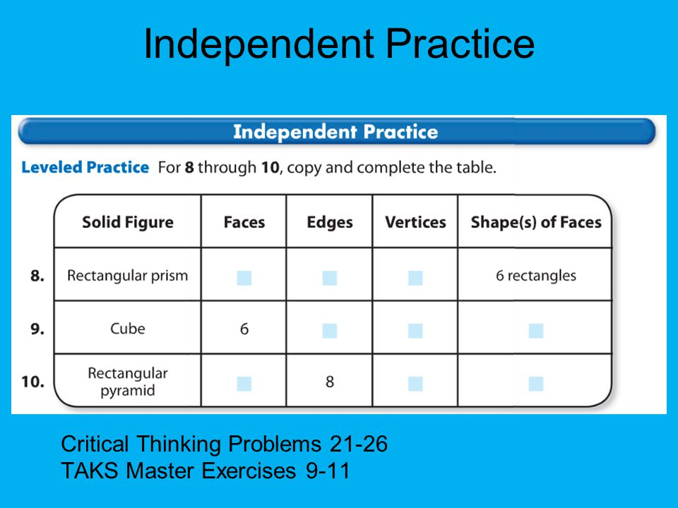 Independent Practice Critical Thinking Problems TAKS Master Exercises 9-11