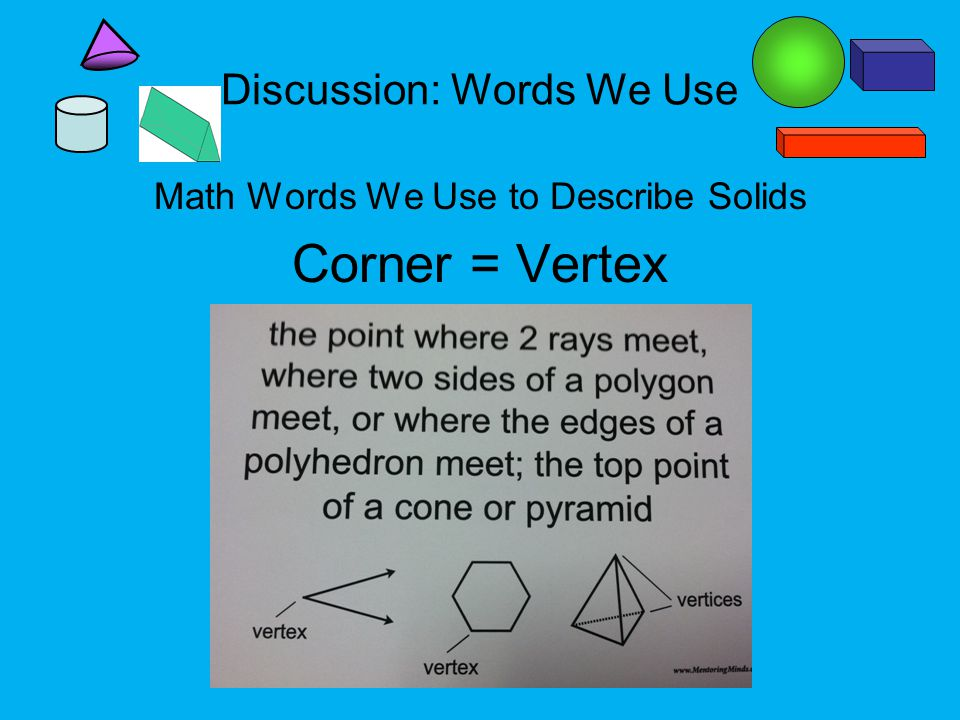 Discussion: Words We Use Math Words We Use to Describe Solids Corner = Vertex