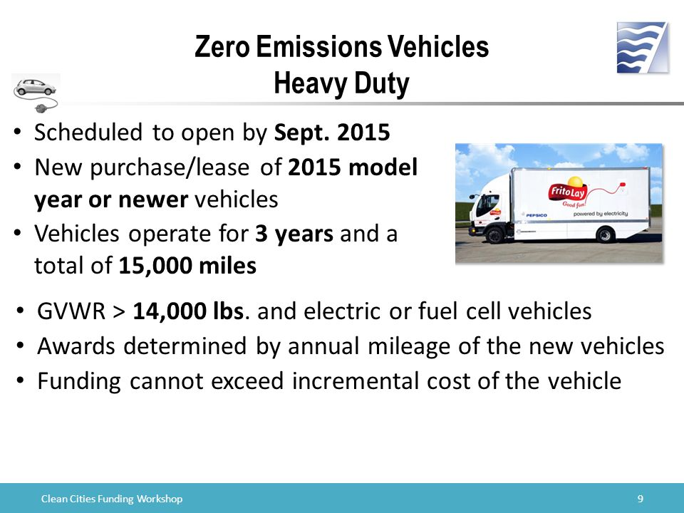 Clean Cities Funding Workshop Zero Emissions Vehicles Heavy Duty Scheduled to open by Sept.