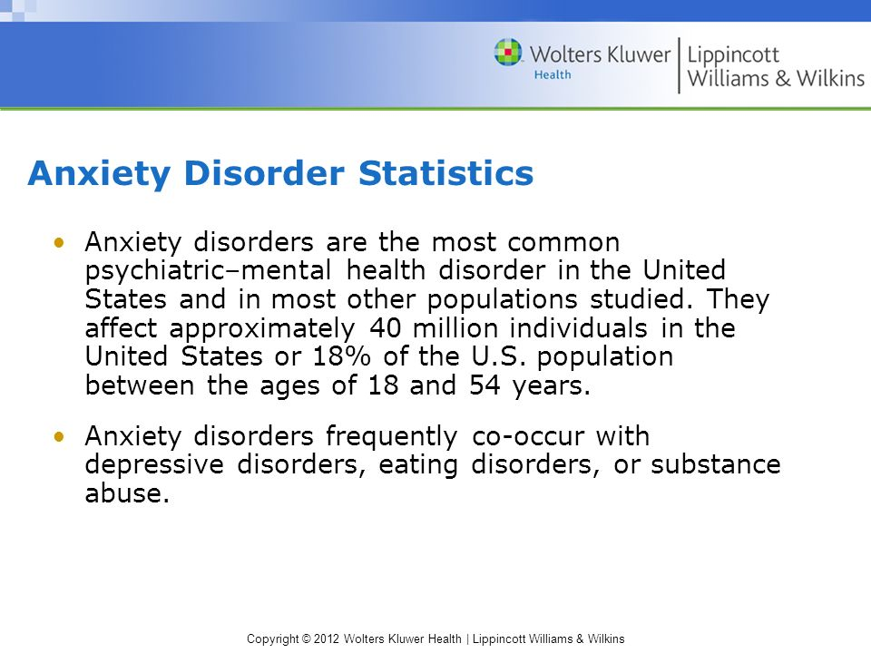 Copyright © 2012 Wolters Kluwer Health | Lippincott Williams & Wilkins Anxiety Disorder Statistics Anxiety disorders are the most common psychiatric–mental health disorder in the United States and in most other populations studied.