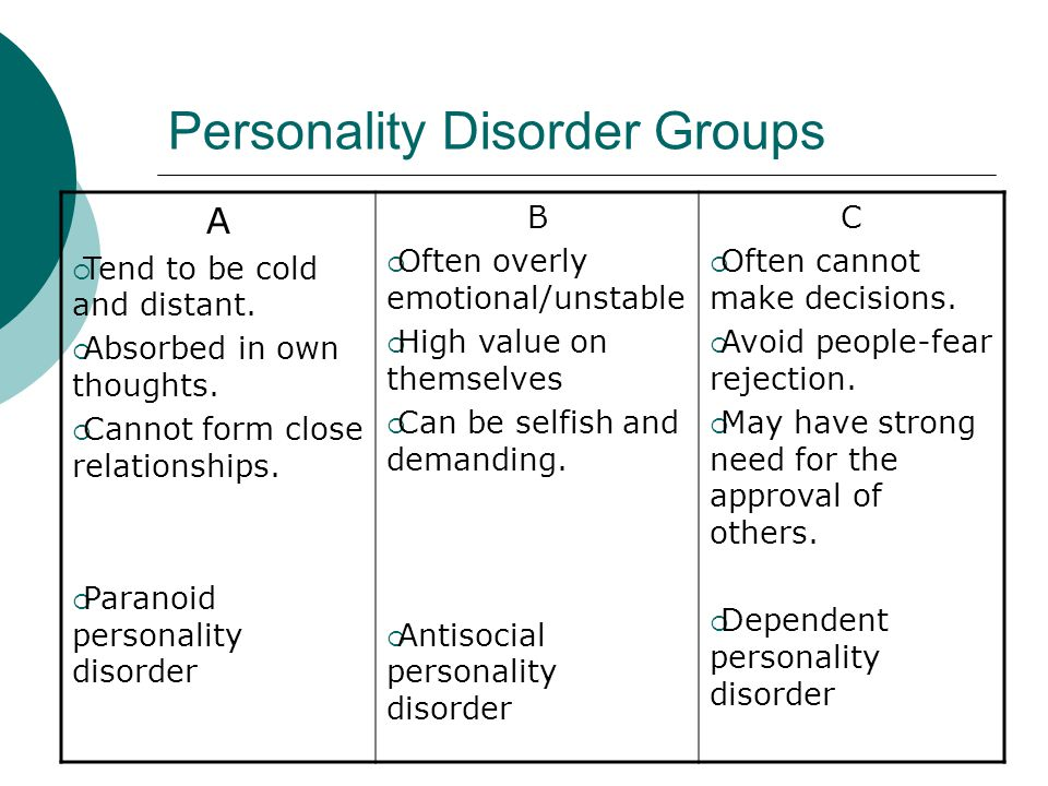 Personality Disorder Groups A  Tend to be cold and distant.