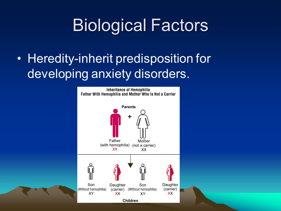Biological Factors Heredity-inherit predisposition for developing anxiety disorders.