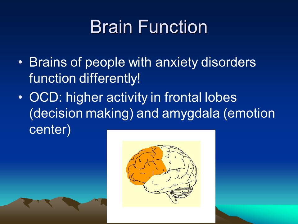 Brain Function Brains of people with anxiety disorders function differently.