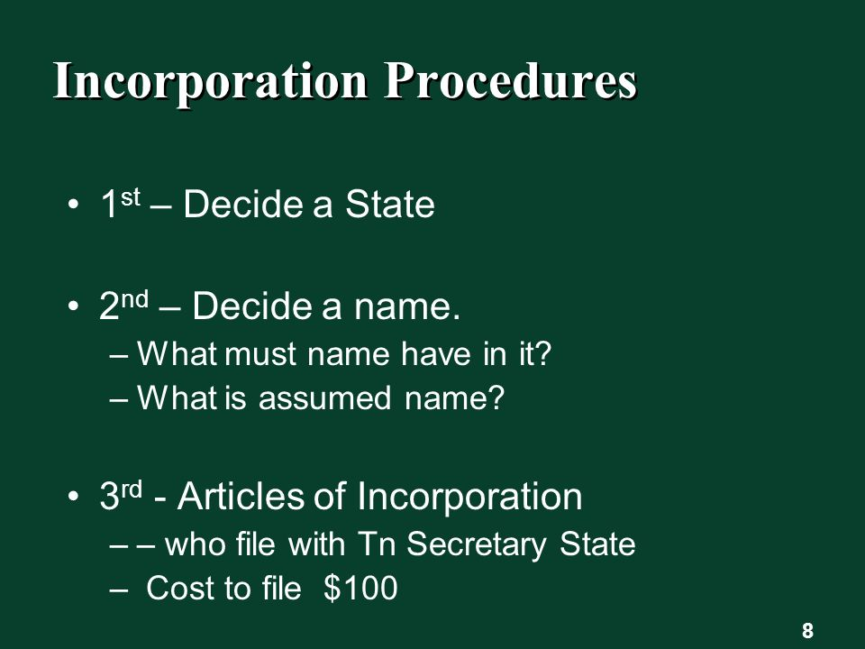 8 Incorporation Procedures 1 st – Decide a State 2 nd – Decide a name.