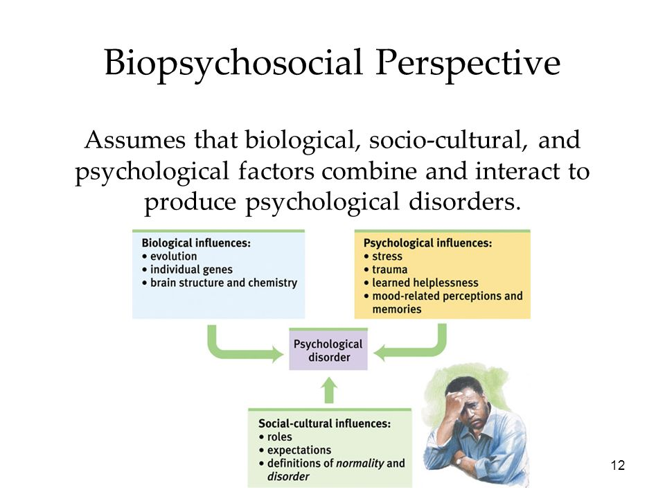12 Biopsychosocial Perspective Assumes that biological, socio-cultural, and psychological factors combine and interact to produce psychological disorders.
