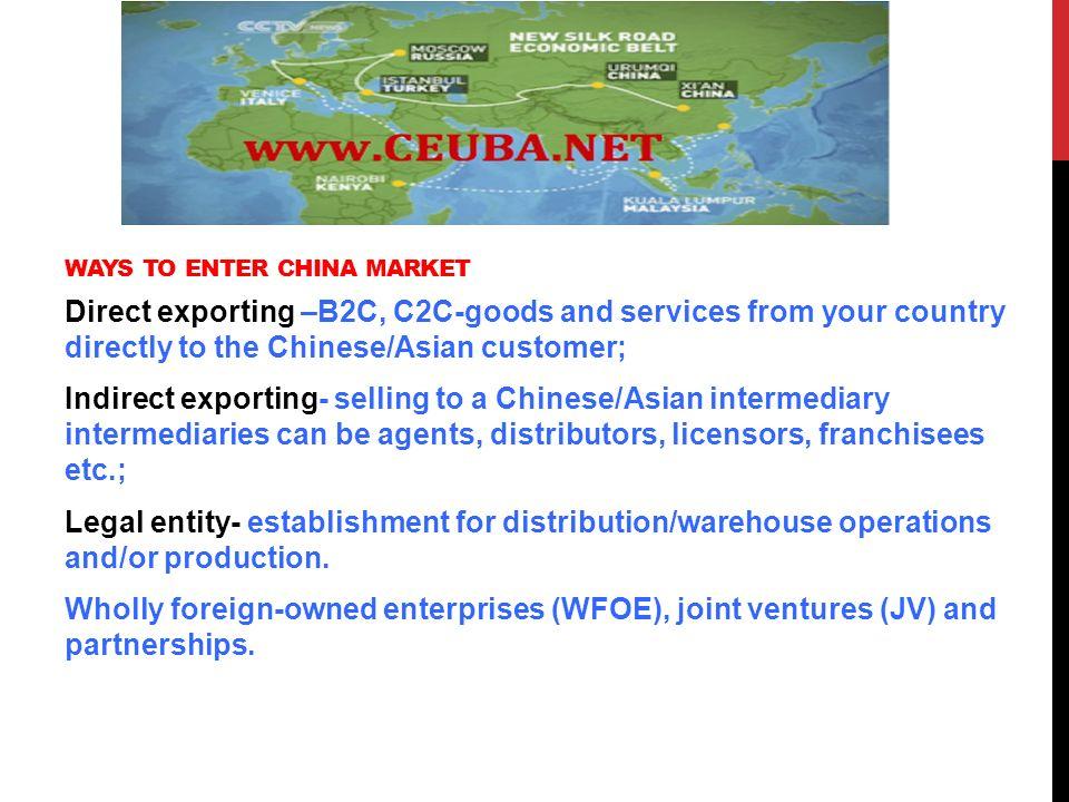WAYS TO ENTER CHINA MARKET- THE BASICS  WAYS TO ENTER CHINA MARKET