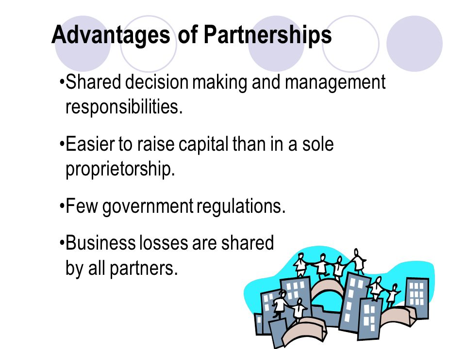 Advantages of Partnerships Shared decision making and management responsibilities.