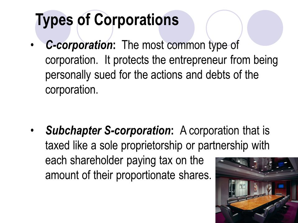 Types of Corporations C-corporation : The most common type of corporation.