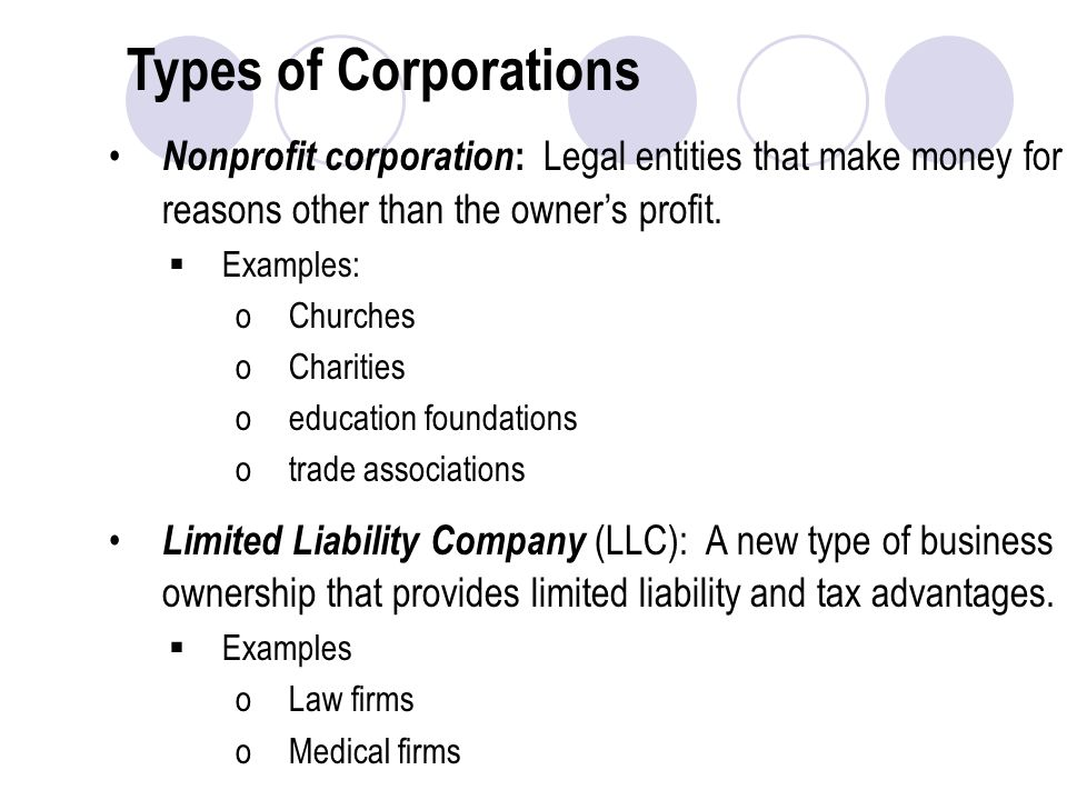 Types of Corporations Nonprofit corporation : Legal entities that make money for reasons other than the owner's profit.