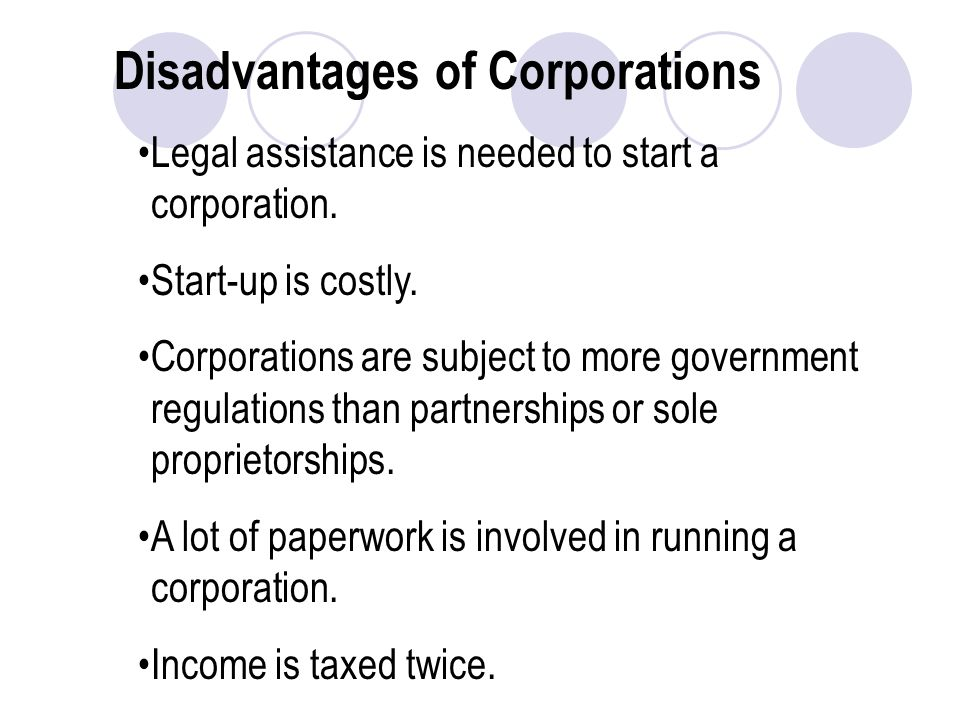 Disadvantages of Corporations Legal assistance is needed to start a corporation.