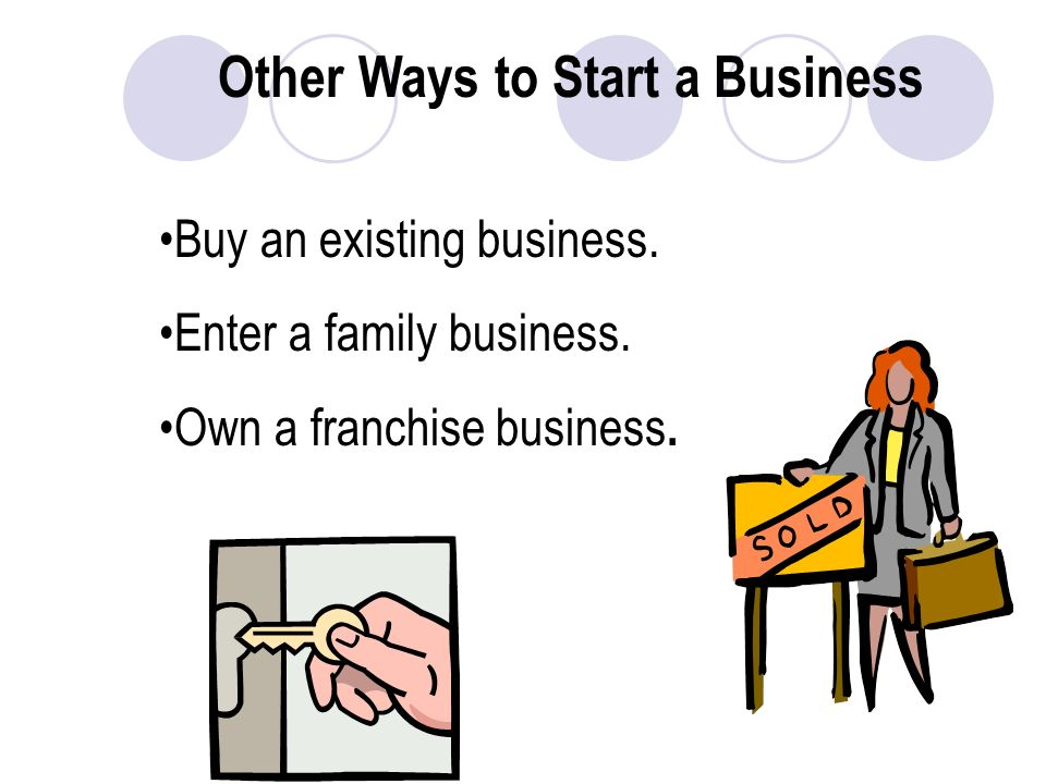 Other Ways to Start a Business Buy an existing business.