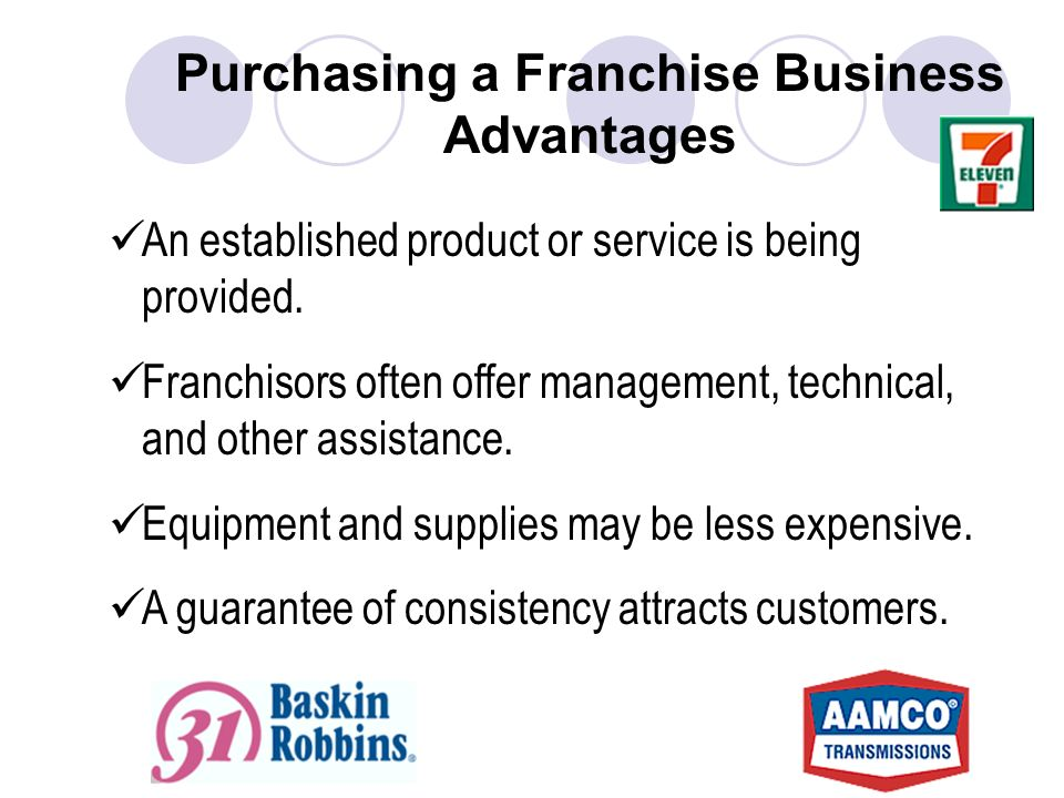 Purchasing a Franchise Business Advantages An established product or service is being provided.
