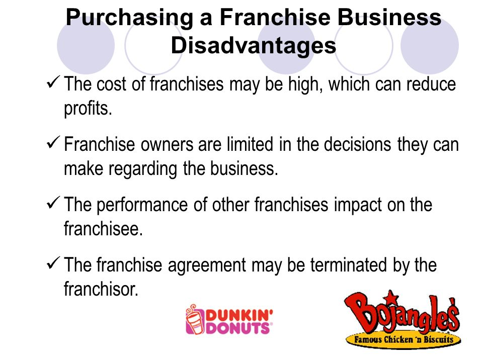 Purchasing a Franchise Business Disadvantages The cost of franchises may be high, which can reduce profits.