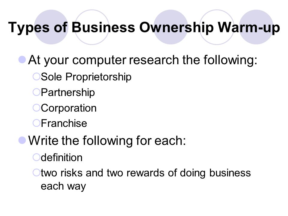 Types of Business Ownership Warm-up At your computer research the following:  Sole Proprietorship  Partnership  Corporation  Franchise Write the following for each:  definition  two risks and two rewards of doing business each way