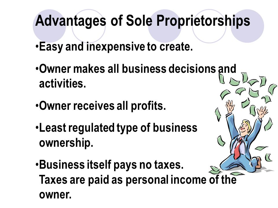 Advantages of Sole Proprietorships Easy and inexpensive to create.